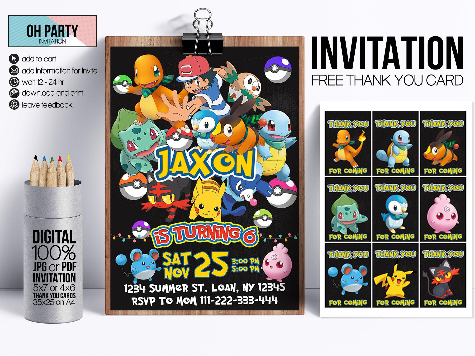 Pokemon Invitation Download Free Thank You Tags Pokemon | Etsy - Free Printable Pokemon Thank You Tags