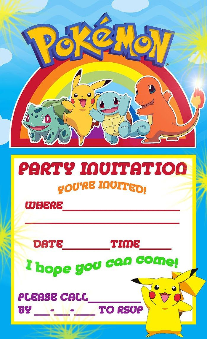 Pokemon Theme For A Kid's Birthday Party | Birthday Aayu | Pinterest - Free Printable Pokemon Birthday Invitations