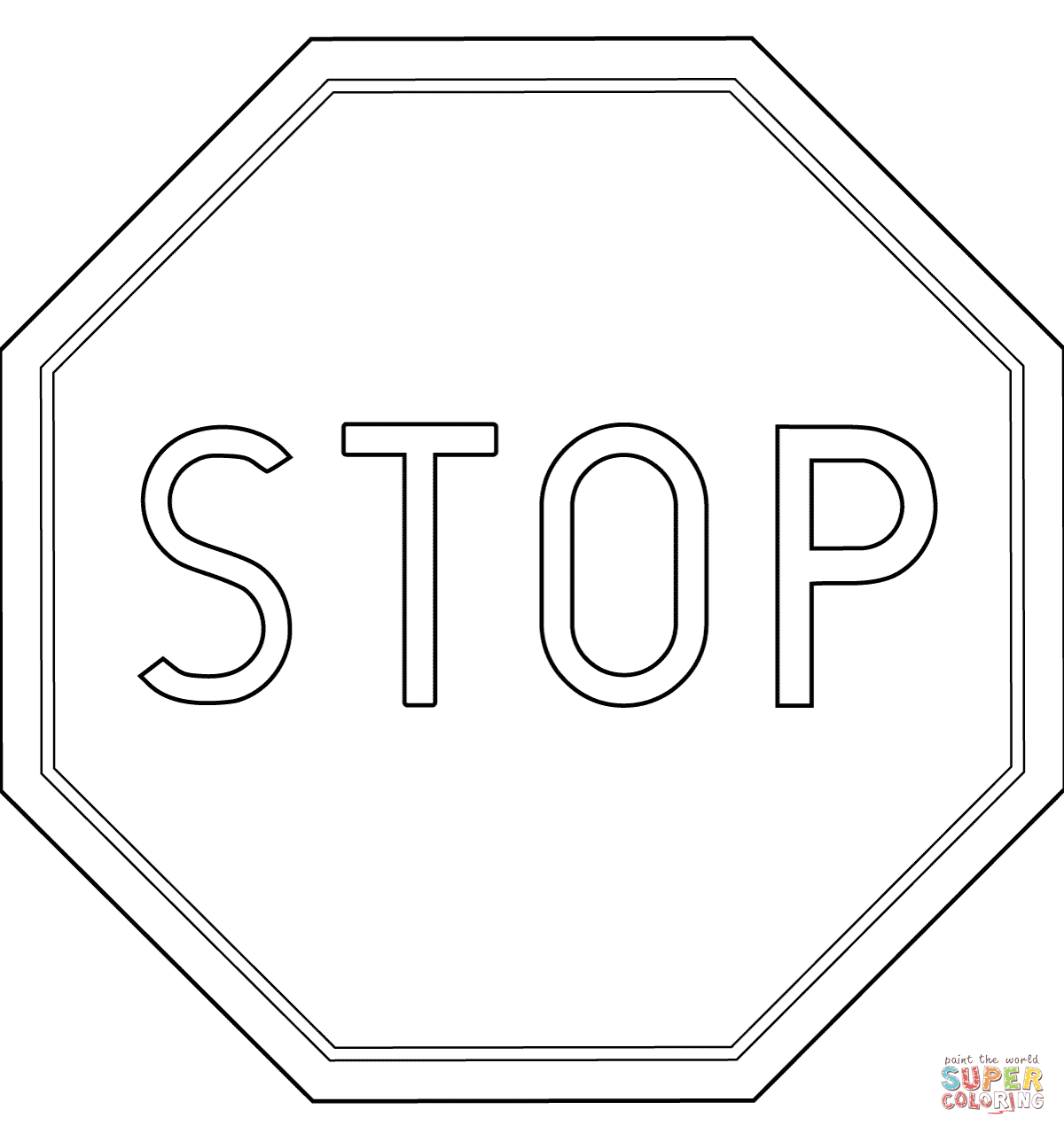 Poland Stop Road Sign B-20 Coloring Page | Free Printable Coloring Pages - Free Printable Stop Sign To Color