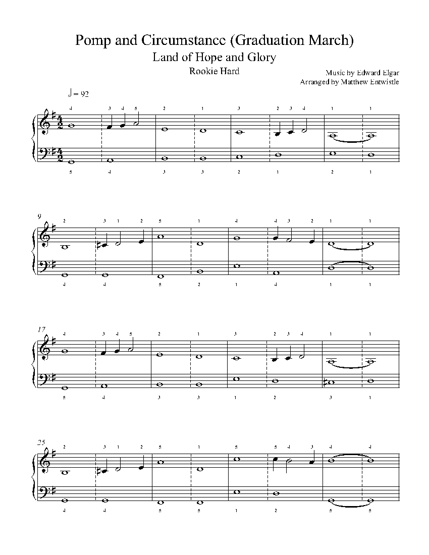 Pomp And Circumstance (Graduation March)Edward Elgar Piano Sheet - Free Printable Sheet Music Pomp And Circumstance