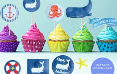 Free Printable Whale Cupcake Toppers