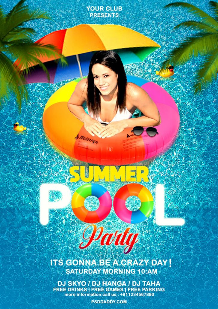Pool Party Flyers Free Printable