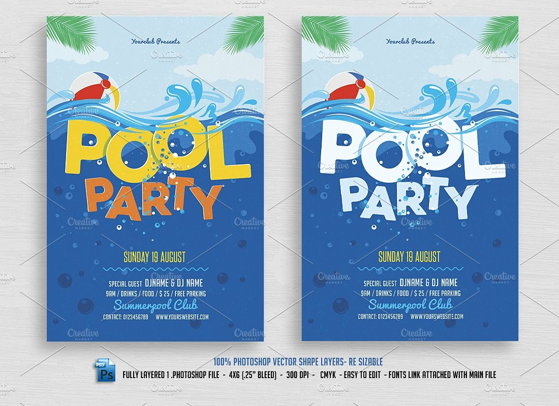 Pool Party Flyer Template Free Templates 21 Invitations Psd