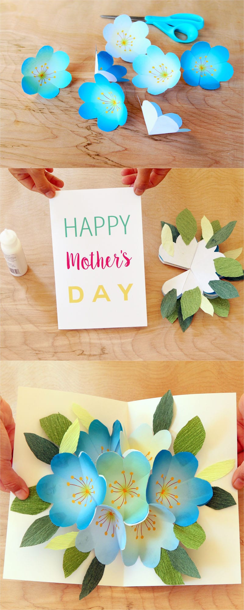 Pop Up Flowers Diy Printable Mother's Day Card - A Piece Of Rainbow - Free Printable Love Greeting Cards
