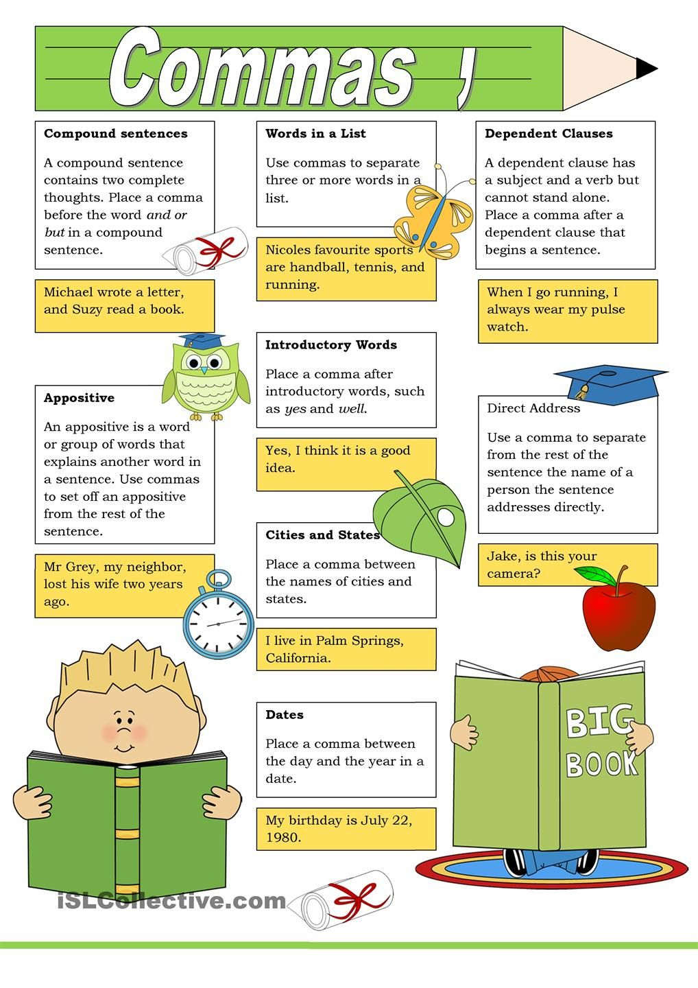Poster: Commas | Projects To Try | Pinterest | Comma Grammar - Punctuation Posters Printable Free