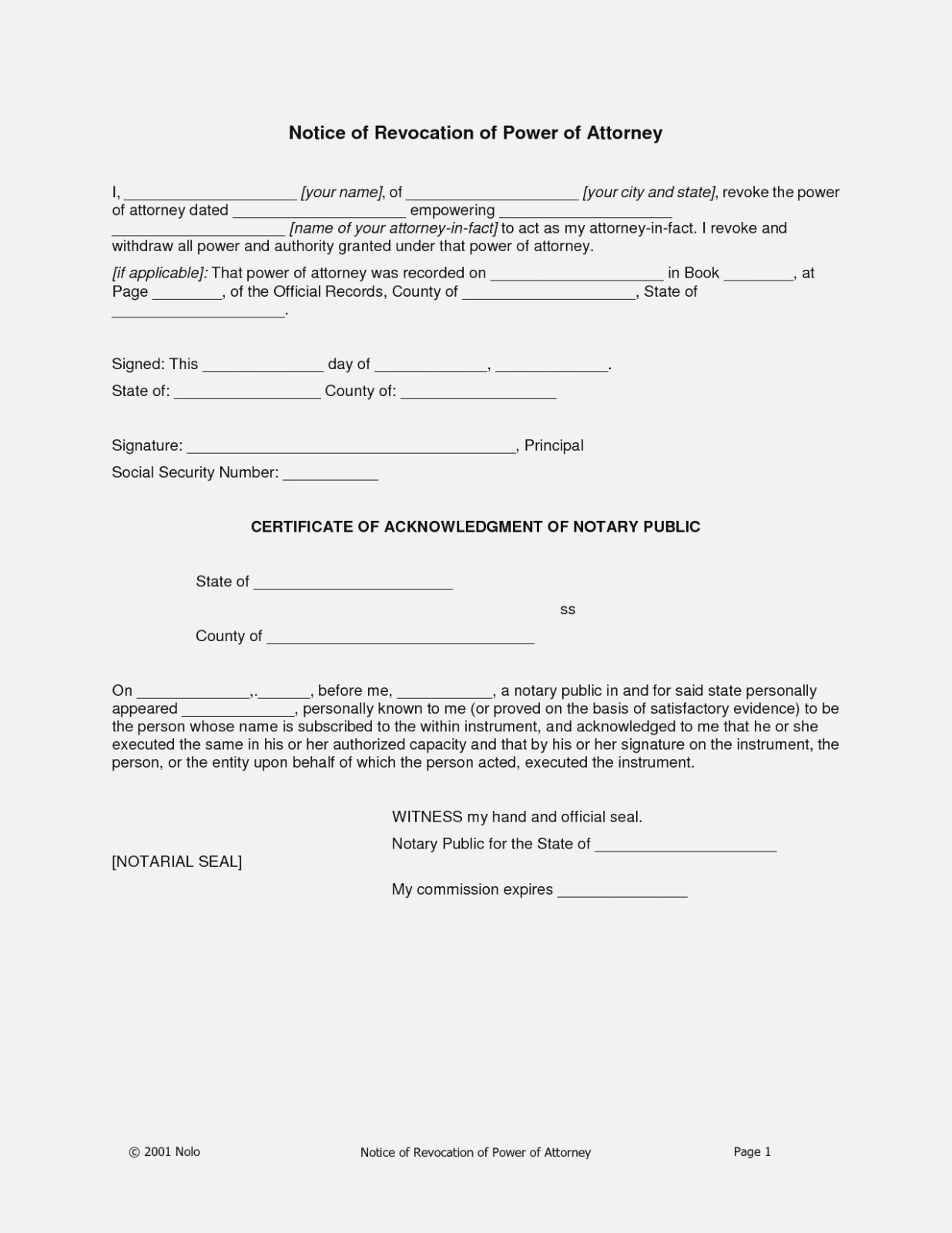Power Of Attorney Form Free Printable Best Of Power Attorney Format - Free Printable Revocation Of Power Of Attorney Form