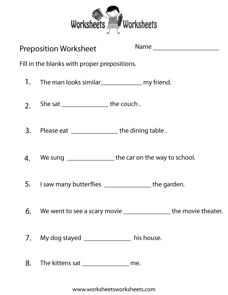 Preposition Worksheets   Two Ways To Print This Free Prepositions - Free Printable Homework Worksheets