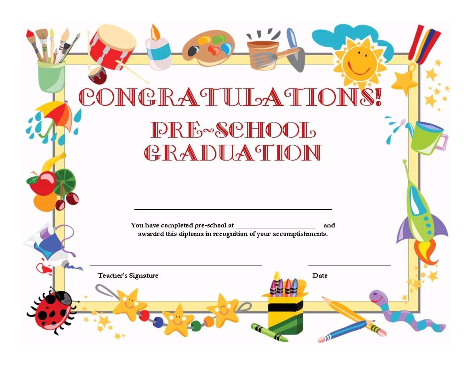 Preschool Graduation Certificate Template Free | ⇢Kindergarten - Preschool Graduation Diploma Free Printable