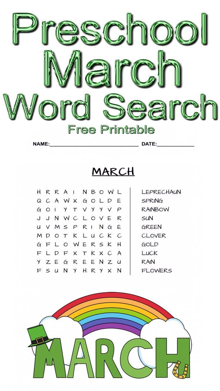 Preschool March Word Search ~ Free Printable | Free Printables - Free Printable March Activities