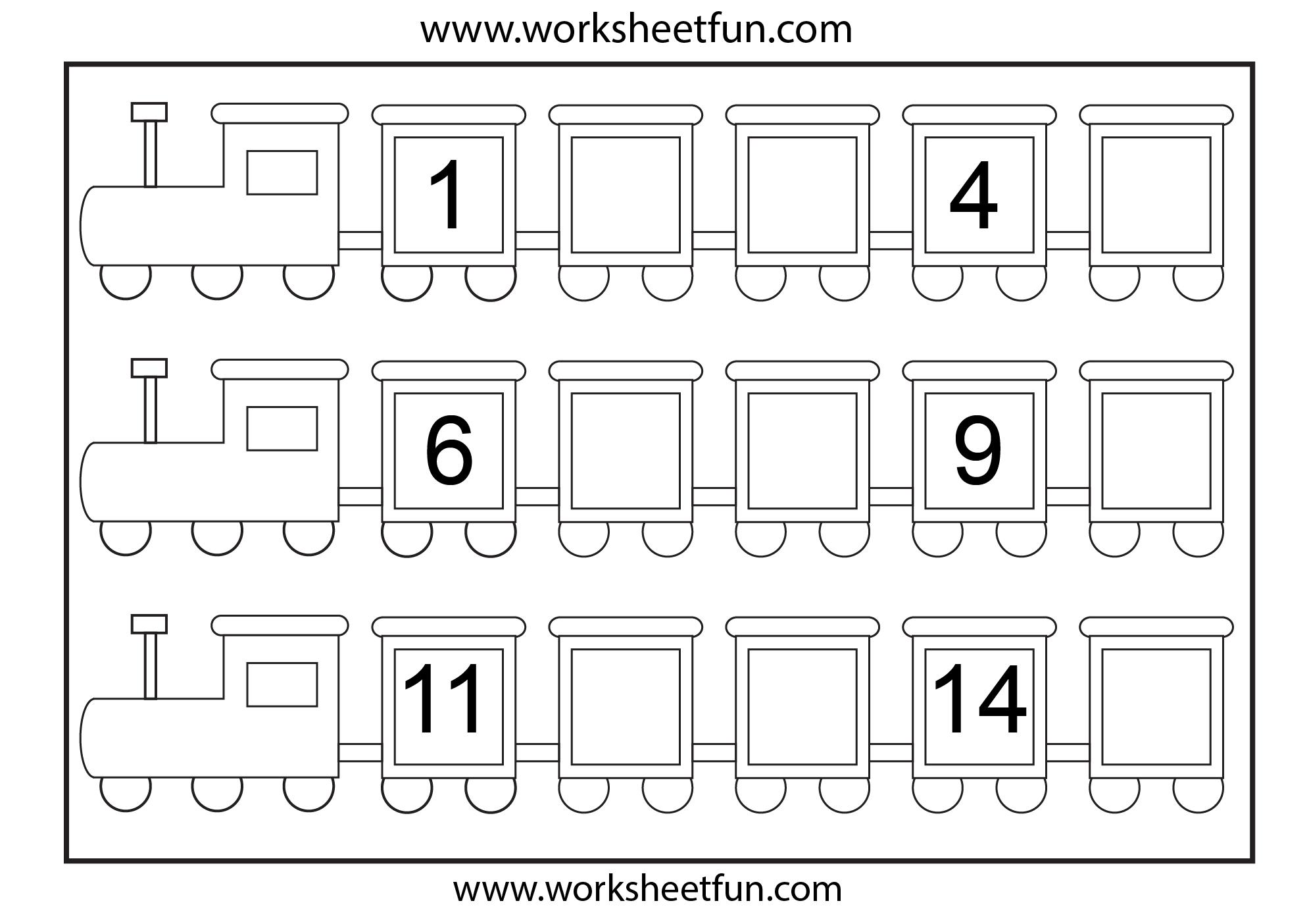 Preschool Missing Number Worksheets   Number Train – Missing Numbers - Free Printable Missing Number Worksheets