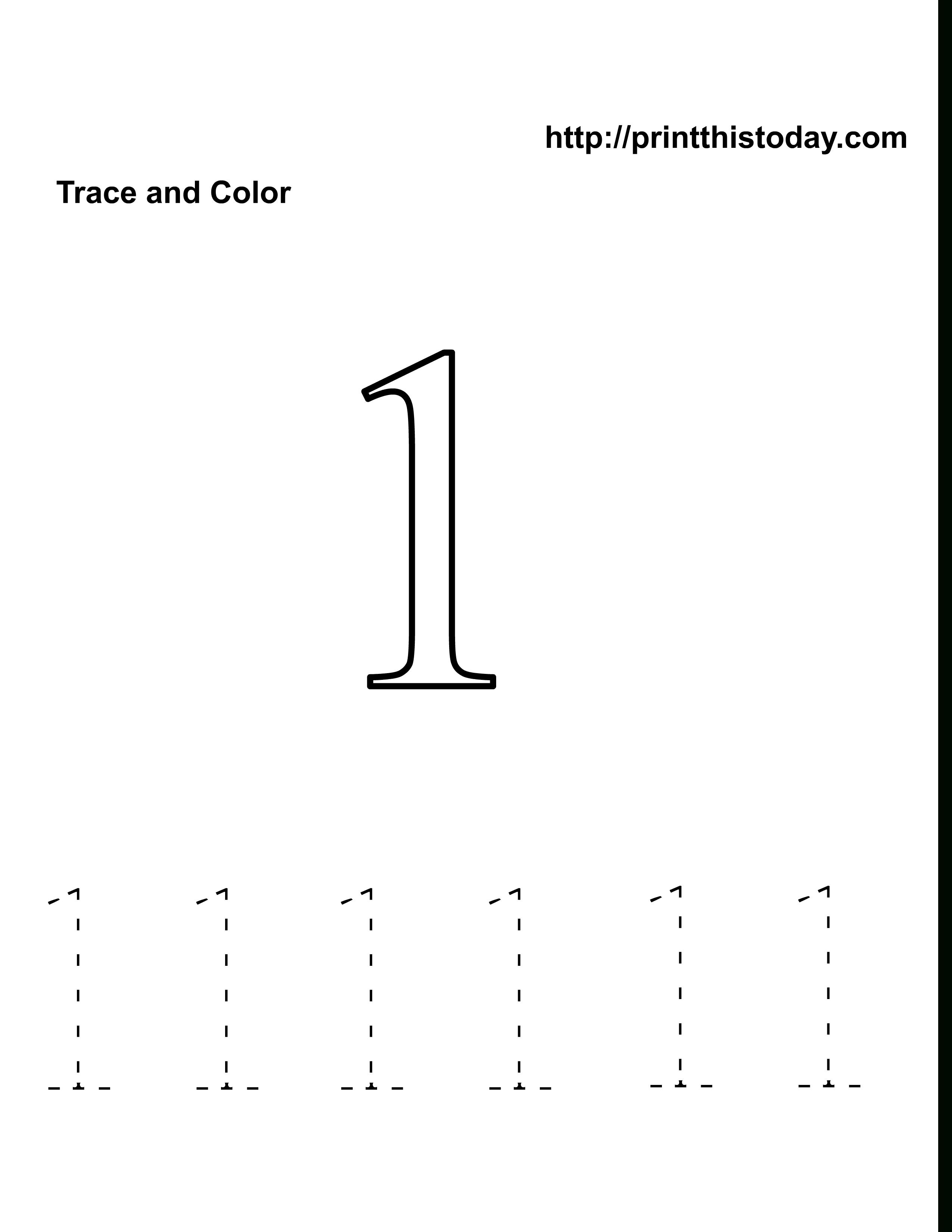 Preschool Number One Worksheet | Number 1 Tracing Worksheets | Home - Free Printable Number Worksheets