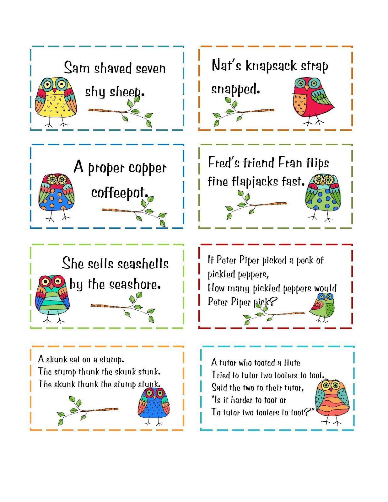 Preschool Printables: Freebie   School   Tongue Twisters For Kids - Free Printable Tongue Twisters