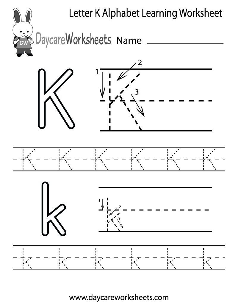 Preschoolers Can Color In The Letter K And Then Trace It Following - Free Printable Letter K Worksheets