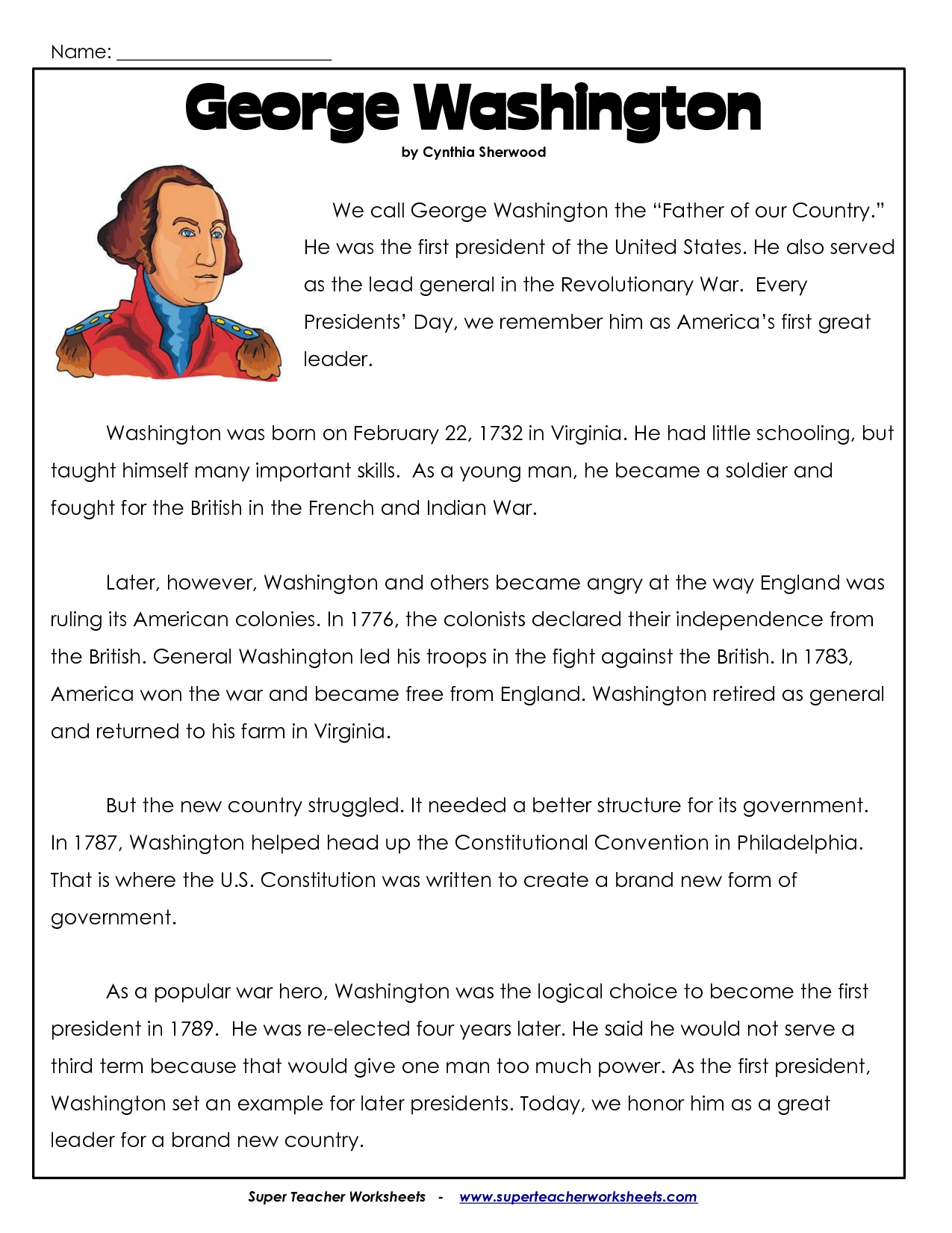 President's Day Coloring Worksheet | George Washington Worksheets - Free Printable George Washington Worksheets