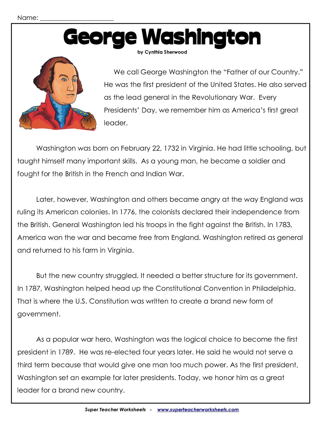 President's Day Coloring Worksheet | George Washington Worksheets - Free Printable Presidents Day Worksheets