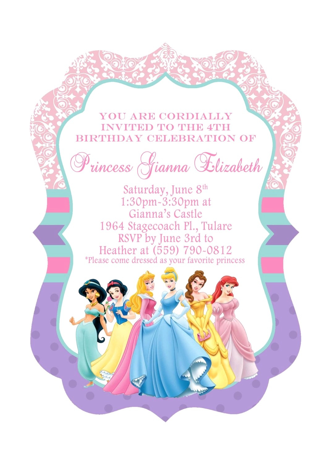 Princess Birthday Invitations Template Luxury Disney Free Printable - Free Princess Printable Invitations