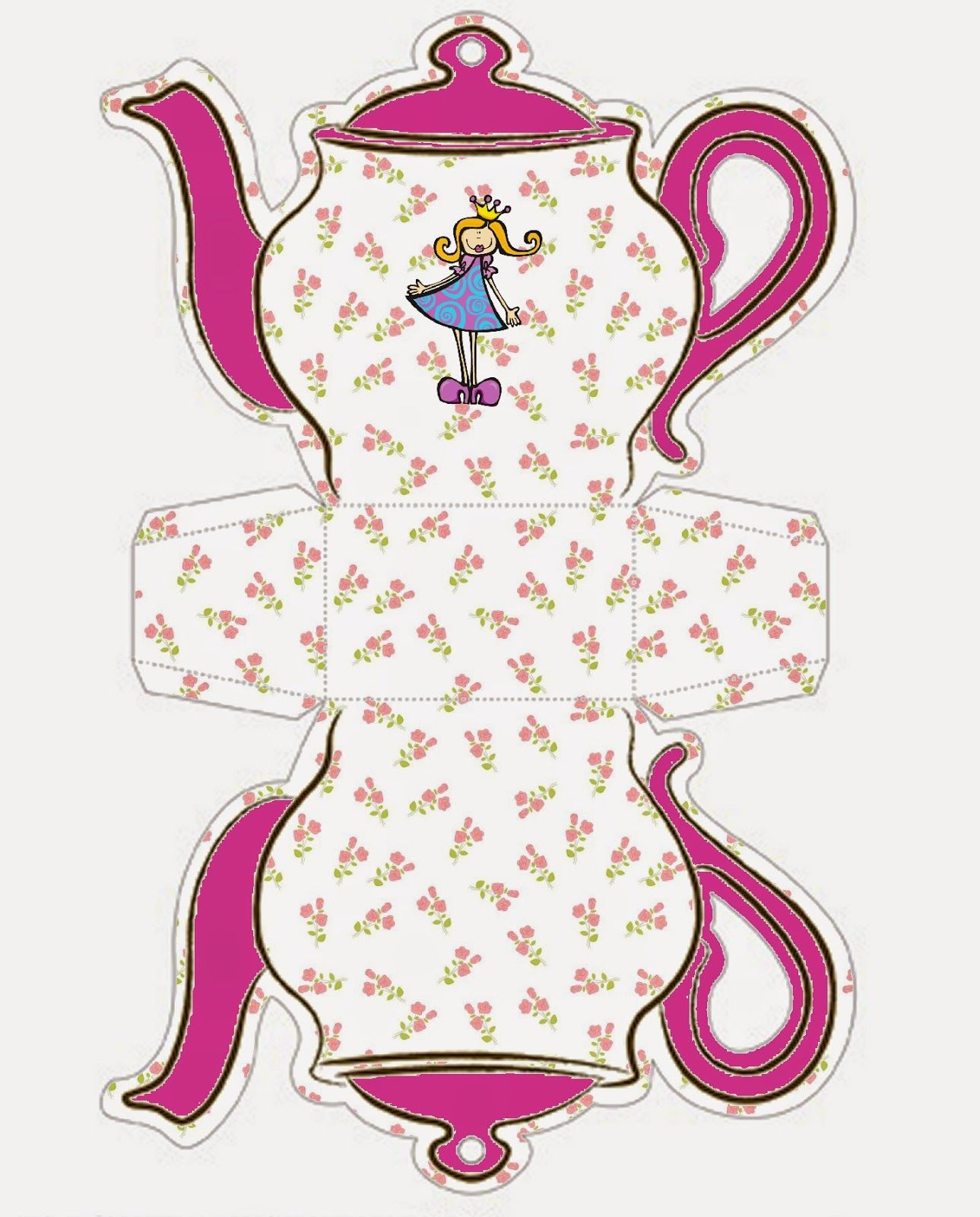 Princess: Teapot Free Printable Box.   Oh My Fiesta! In English - Free Teapot Printable