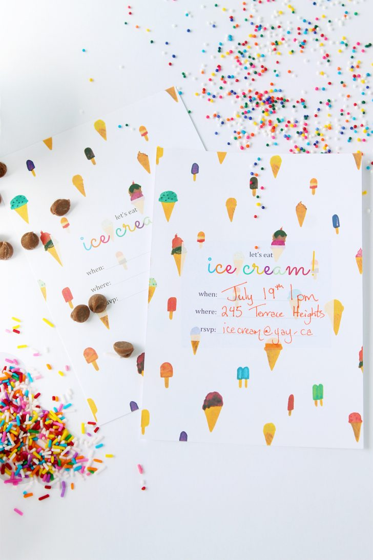 Ice Cream Party Invitations Printable Free