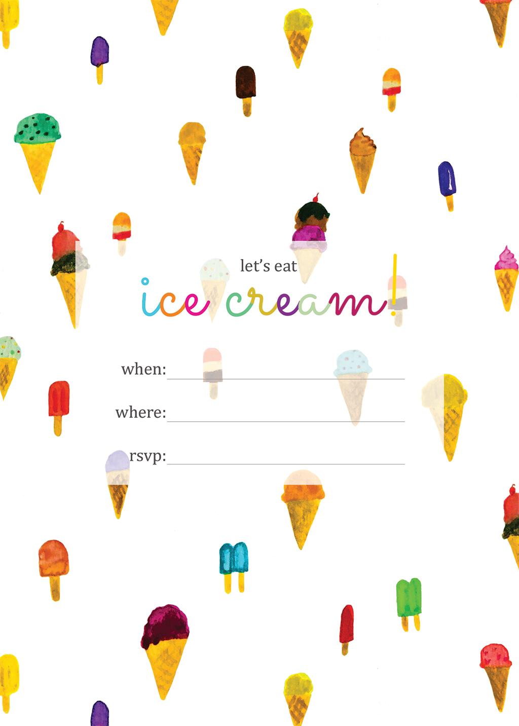 Print   Printable Ice Cream Party Invitation - Squirrelly Minds - Ice Cream Party Invitations Printable Free