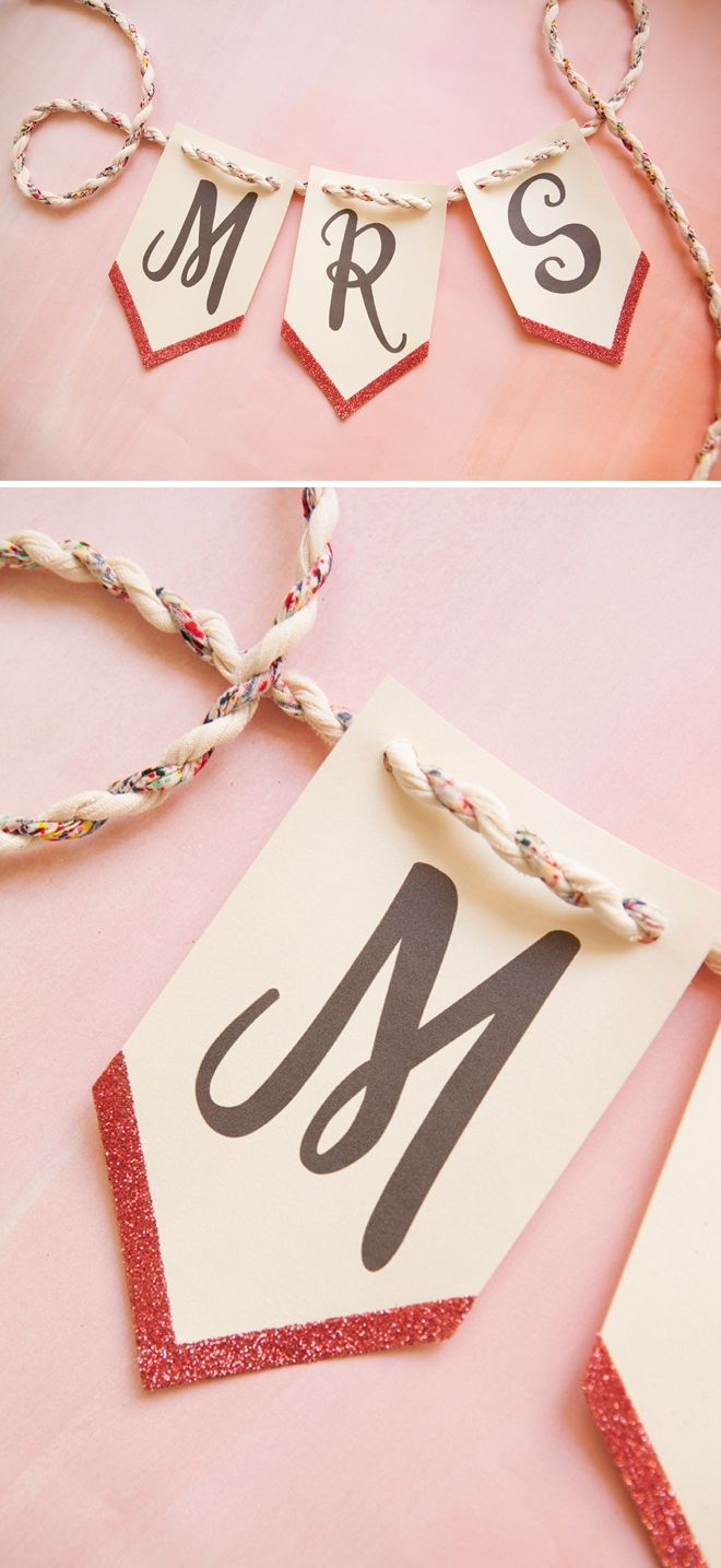 Print This Banner For Free And Then Add Glitter To It! | Diy Wedding - Free Printable Wedding Banner Letters