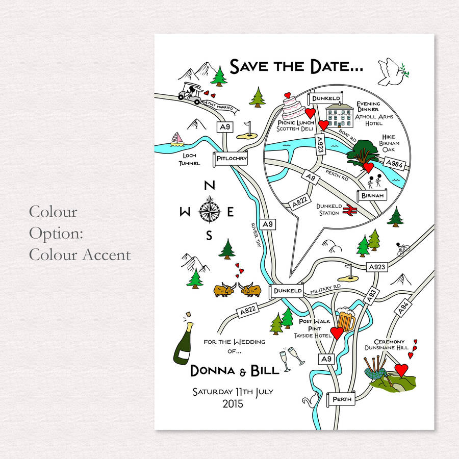 Print Your Own Colour Wedding Or Party Illustrated Mapcute Maps - Free Printable Wedding Maps