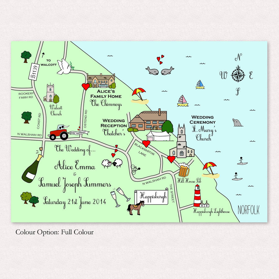 Print Your Own Illustrated Wedding Or Party Mapcute Maps - Free Printable Wedding Maps