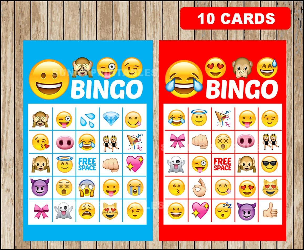 Printable 10 Emoji Bingo Cards Printable Emojis Bingo Game | Etsy - Free Emoji Bingo Printable