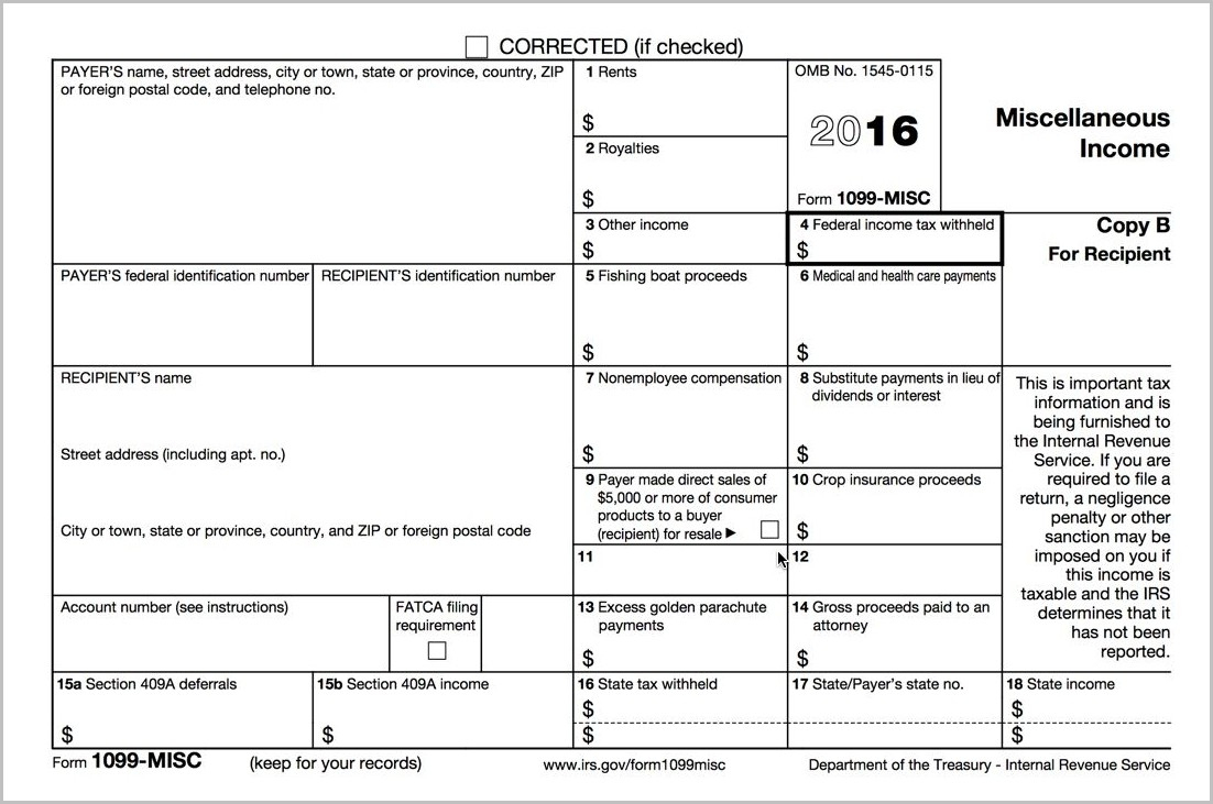 Printable 1099 Form For 2015 Form : Resume Examples - Free Printable 1099 Form