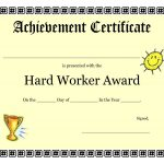 Printable Achievement Certificates Kids | Hard Worker Achievement   Free Printable Children's Certificates Templates