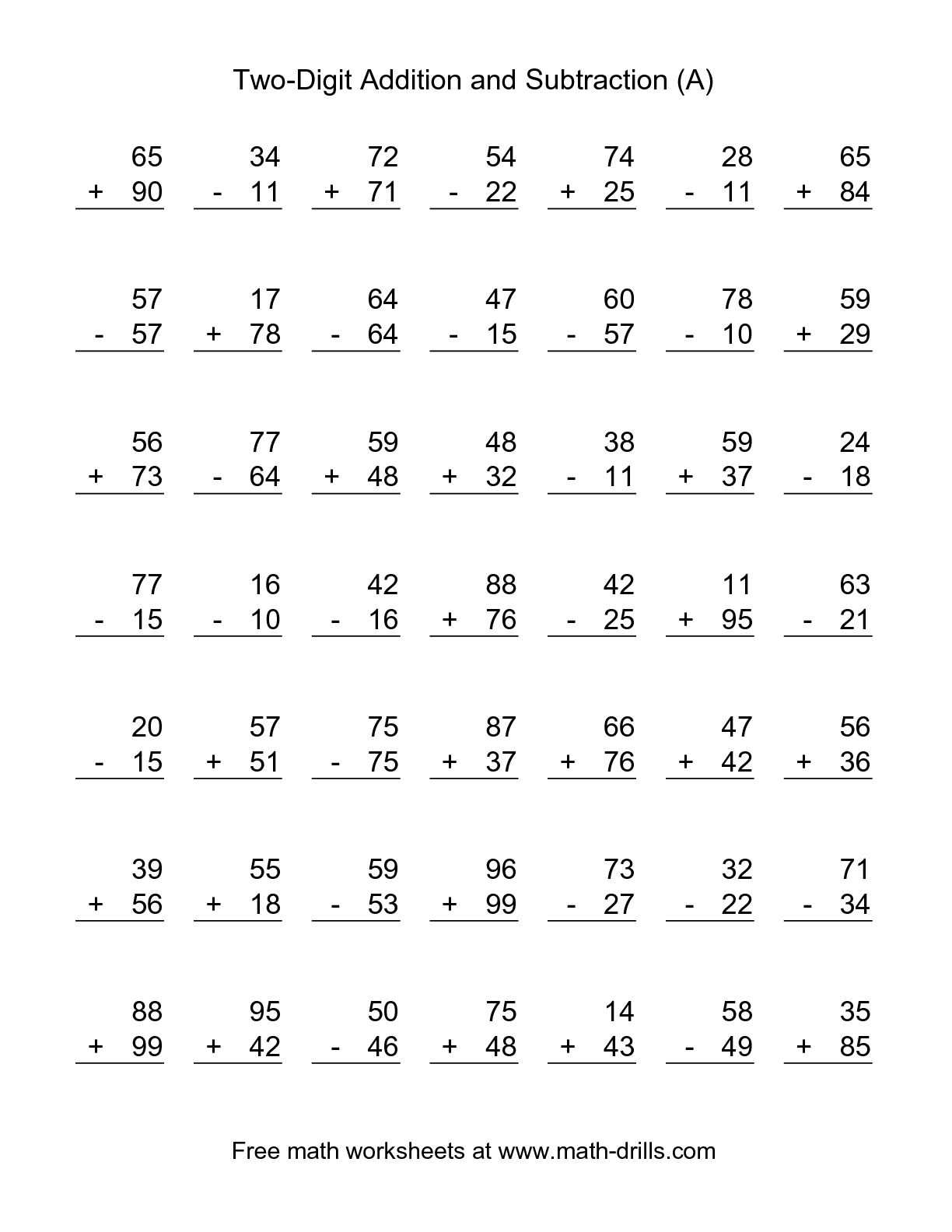 Printable Addition And Subtraction Worksheets. Addition - Free Printable Double Digit Addition And Subtraction Worksheets