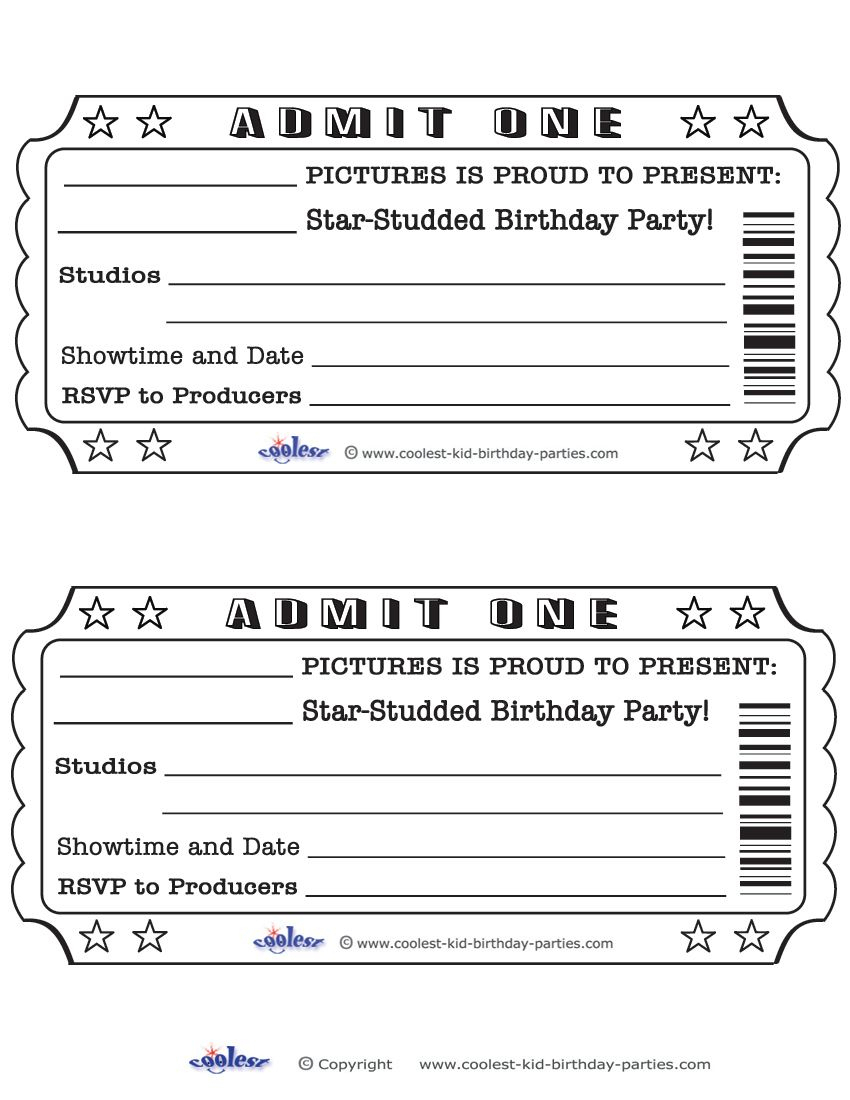 Printable Admit One Invitations Coolest Free Printables   Weddeng - Free Printable Movie Ticket Birthday Party Invitations