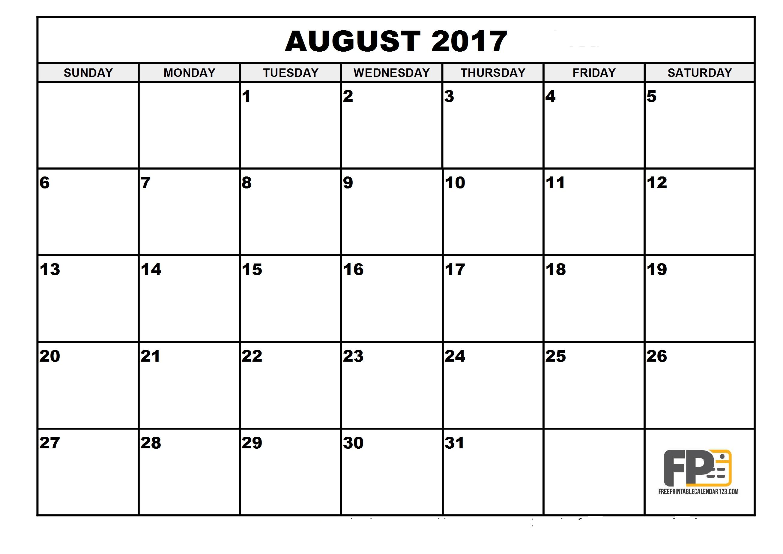 Printable August 2017 Calendar Pdf | Aaron The Artist - Free Printable August 2017