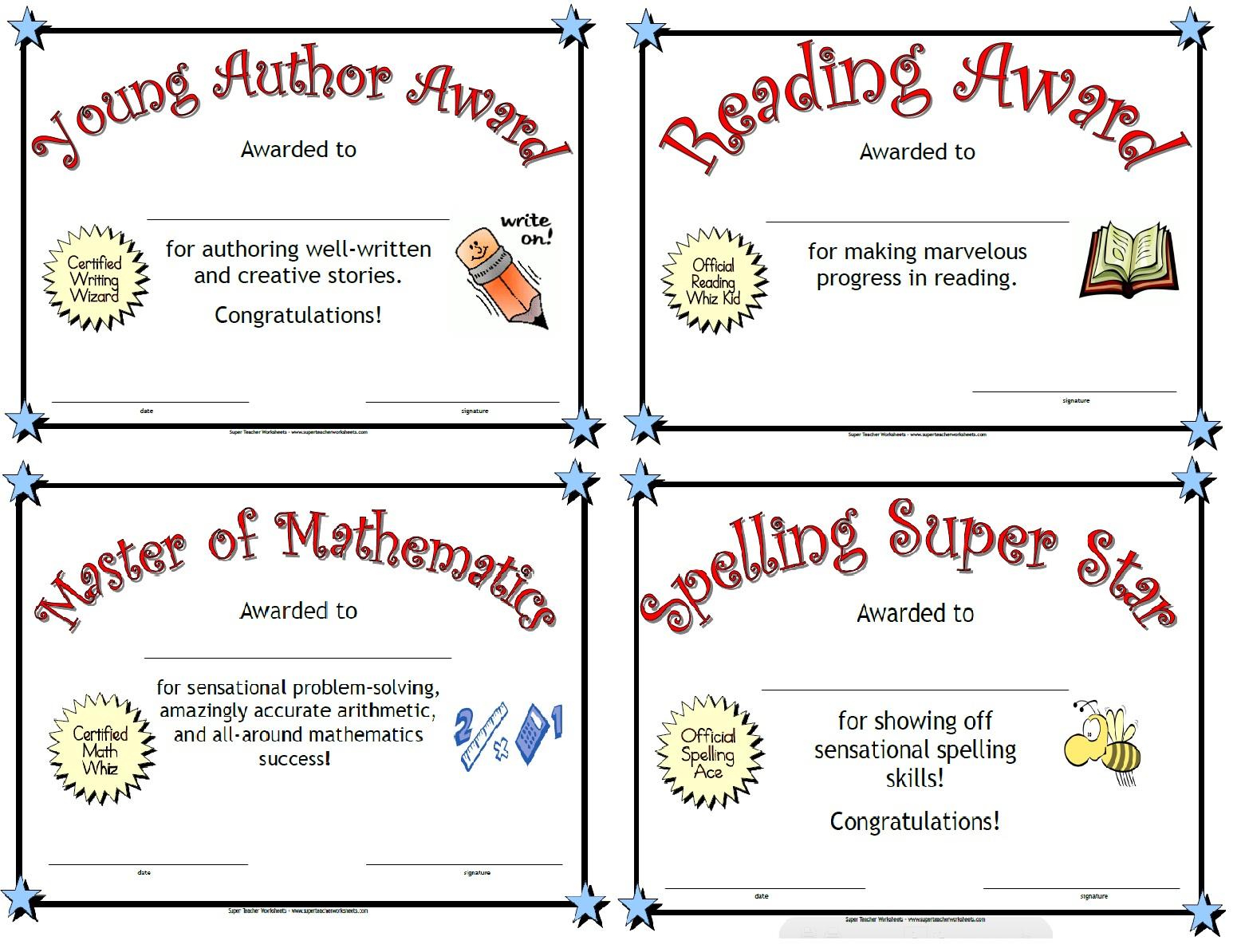 Printable Awards - Free Printable Certificates For Teachers