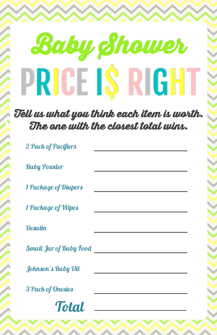 Printable Baby Shower Games - Price Is Right And Bingo   Baby Shower - Free Printable Baby Shower Games