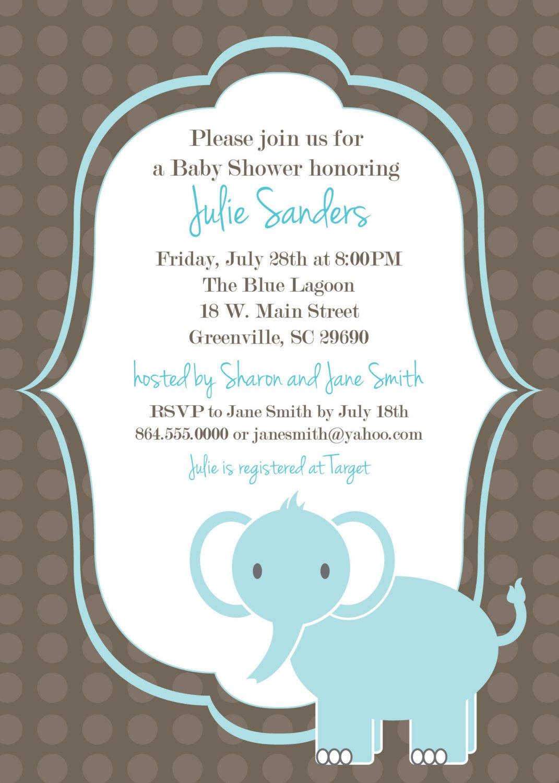 Printable Baby Shower Invitation Elephant Boy Light Blue Delta - Free Baby Boy Shower Invitations Printable