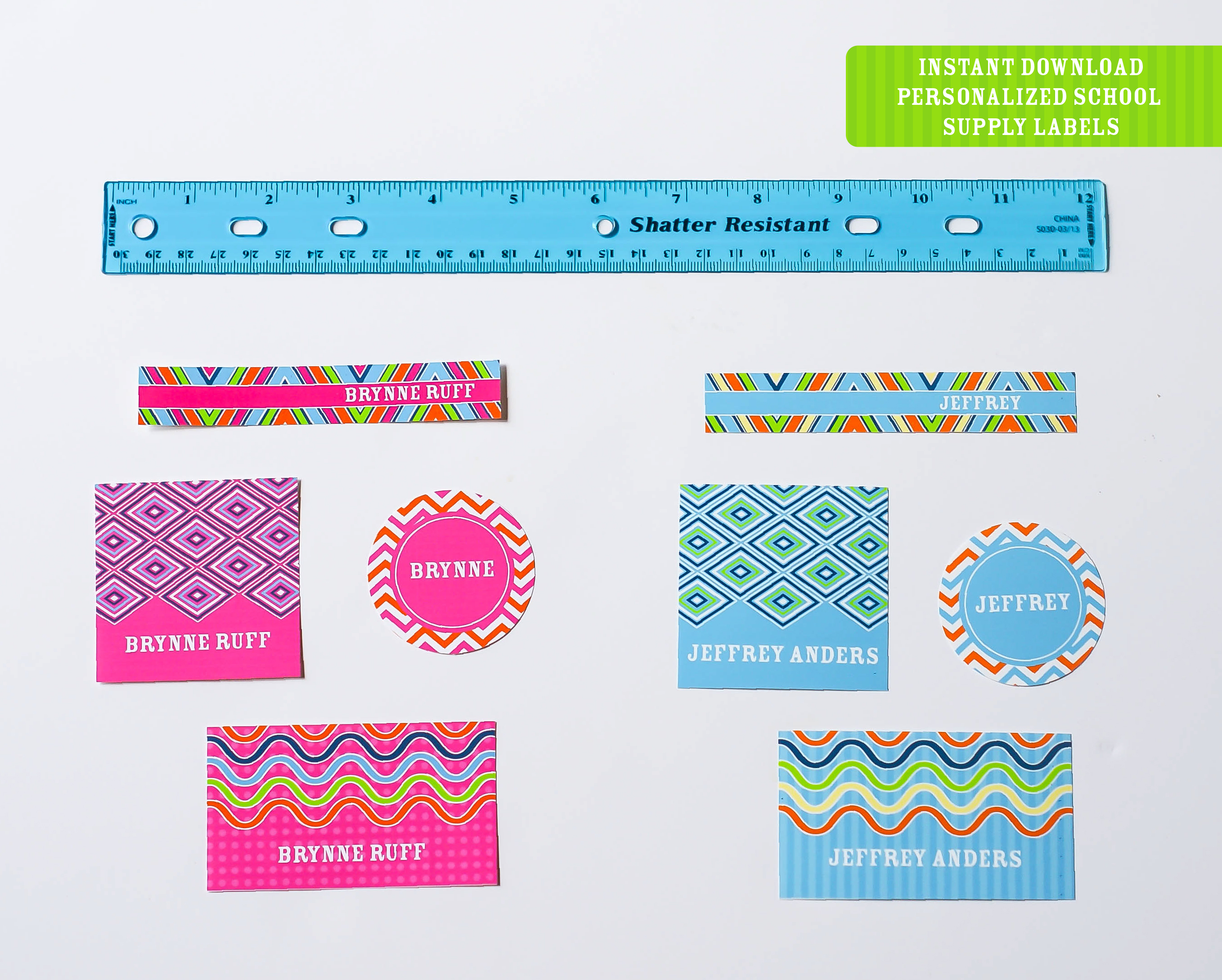 Printable Back To School Labels Round Up (+ Freebie!) - Anders Ruff - Free Printable Name Tags For Students