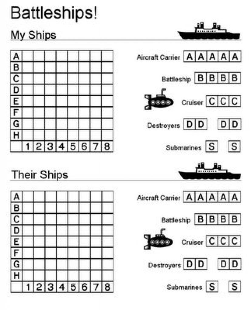 Printable Battleship Game (And Other Printables). Would Also Be - Free Printable Battleship Game