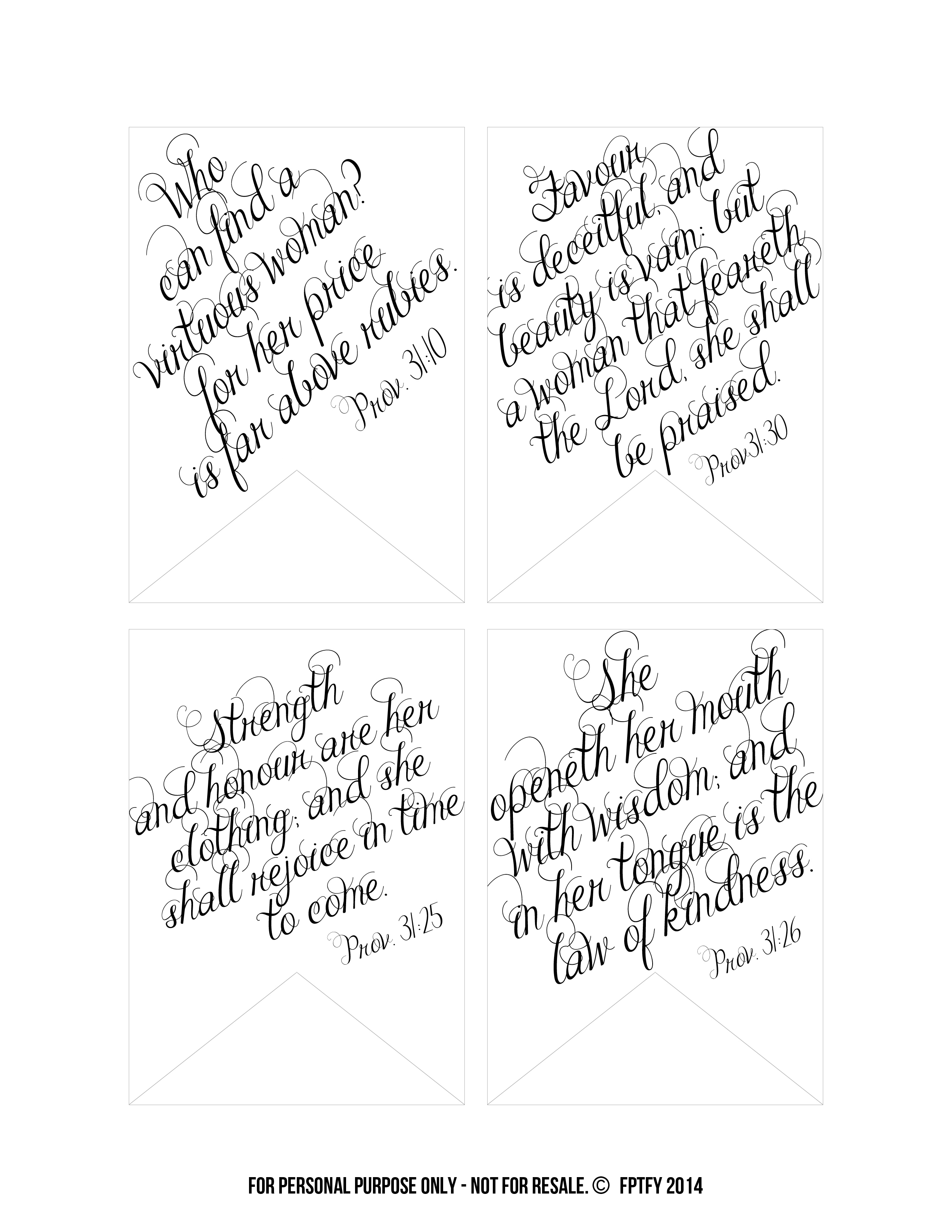 Printable Bible Verses: Proverbs 31 Tags - Free Pretty Things For You - Free Printable Bible Verse Labels