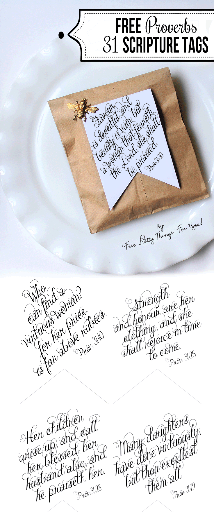Printable Bible Verses: Proverbs 31 Tags - Free Printable Bat Writing Paper