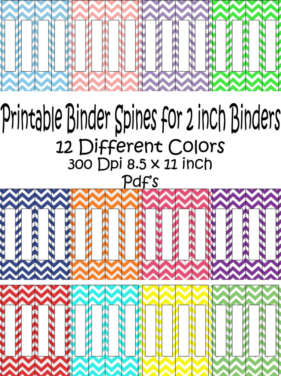 Printable Binder Spine Pack Size 2 Inch-12 Different Colors In - Printable Binder Spine Inserts Free