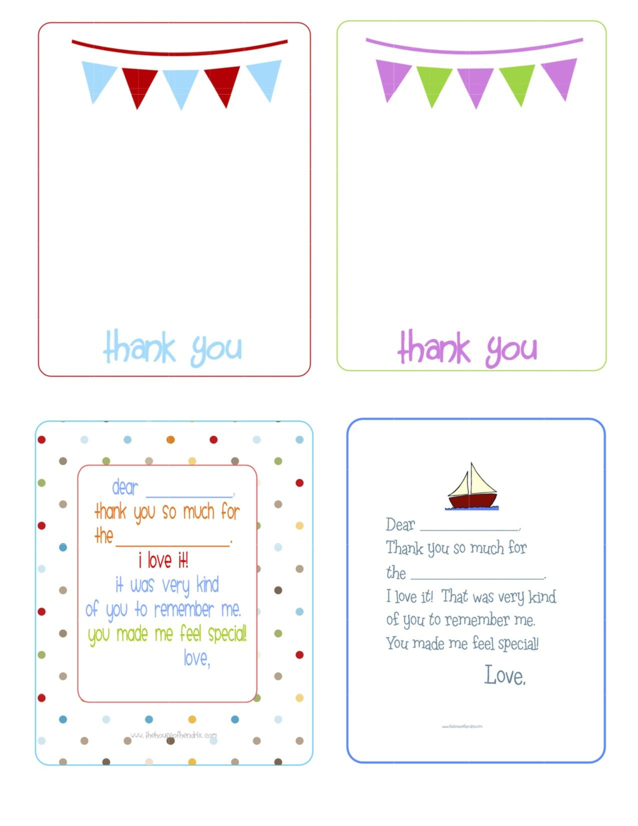 Printable Birthday Thank You Cards - | Printables & Fonts - Free Printable Thank You Notes