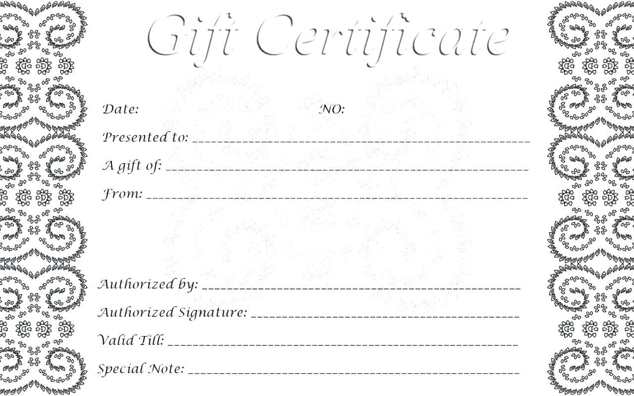 Printable Blank Gift Certificate Template Gallery - Free - Free Printable Gift Certificates For Hair Salon