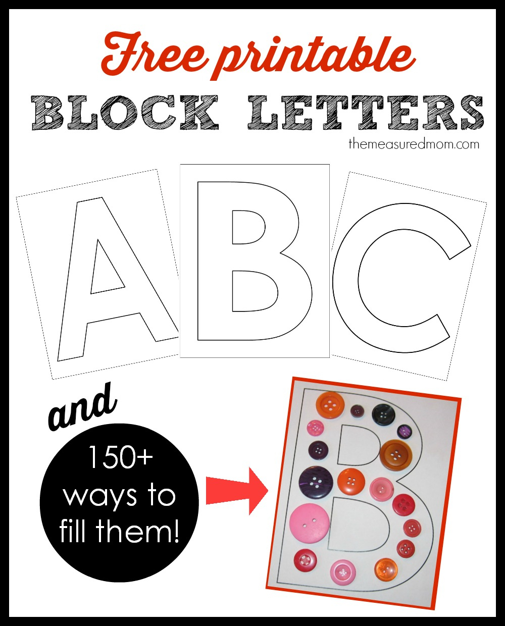 Printable Block Letters And Over 150 Ways To Fill Them! - The - Free Printable Block Letters