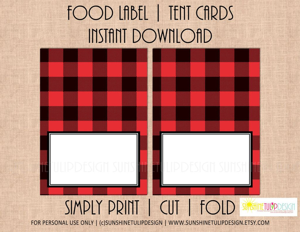 Printable Buffalo Plaid Food Label Tent Cards, Christmas, Holiday - Free Printable Christmas Tent Cards