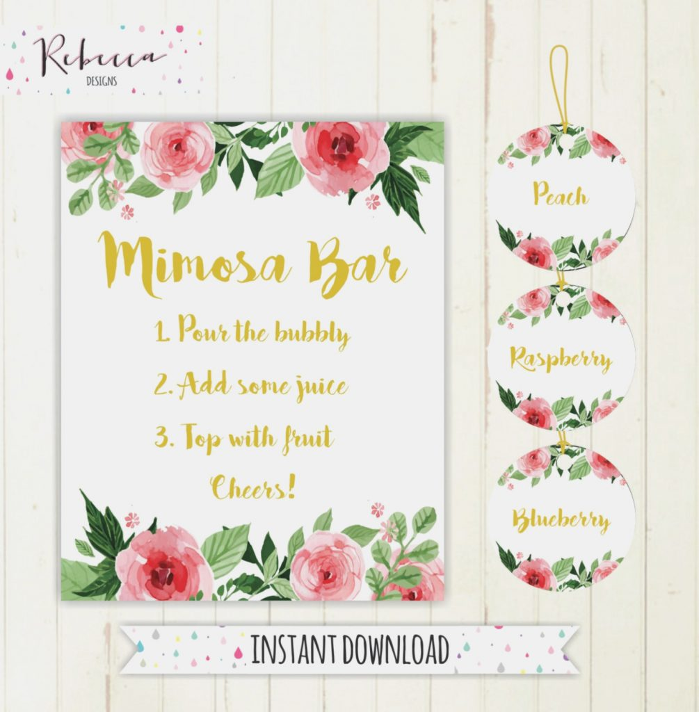 photograph about Mimosa Bar Sign Printable Free named Printable Calibration Labels Mimosa Bar Indicator Juice Labels