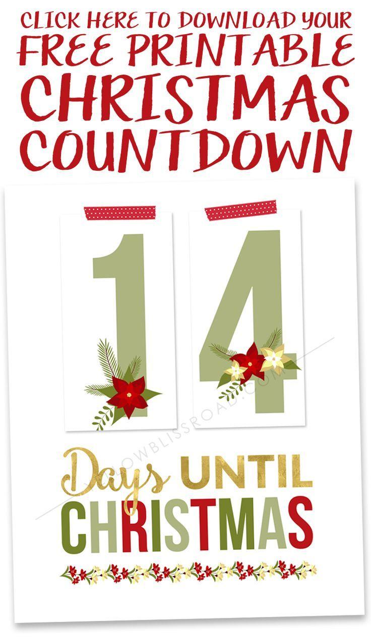 Printable Christmas Countdown | Holidays: Christmas | Pinterest - Christmas Countdown Free Printable