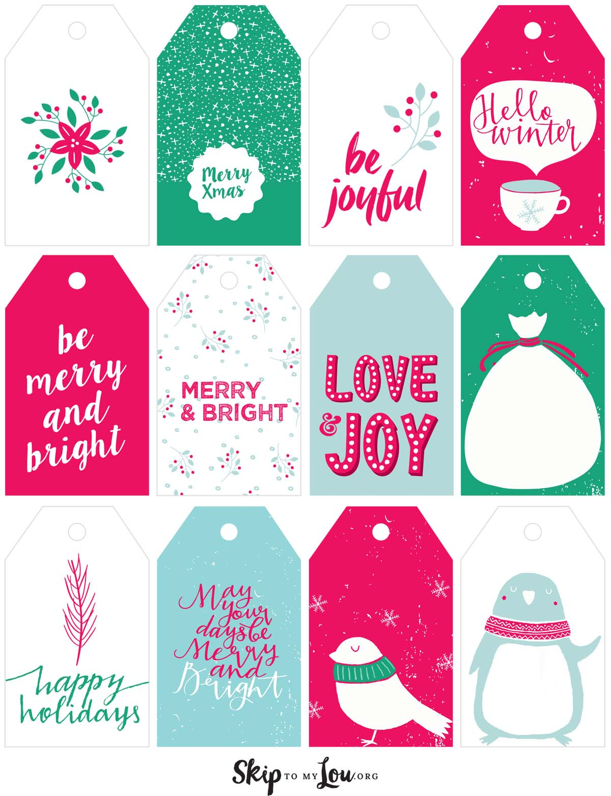 Printable Christmas Gift Tags | Skip To My Lou - Free Printable Christmas Gift Tags