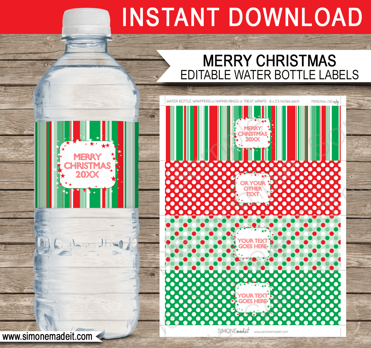 Printable Christmas Water Bottle Labels Template | Editable Text - Free Printable Paris Water Bottle Labels