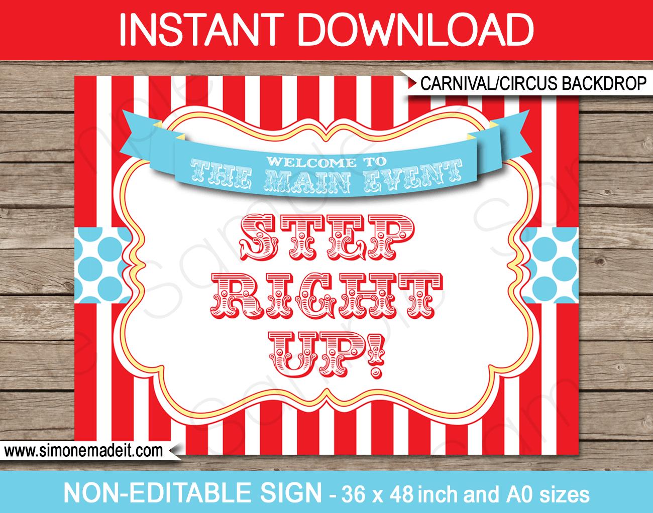 Printable Circus Backdrop Sign | Carnival Party Decorations - Free Printable Carnival Decorations