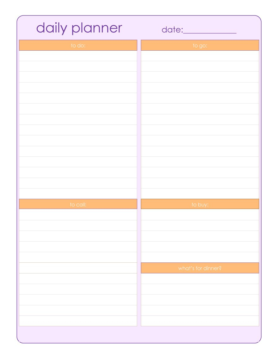 Printable Daily Planner Templates Free Template Lab Schedule - Free Printable Daily Schedule